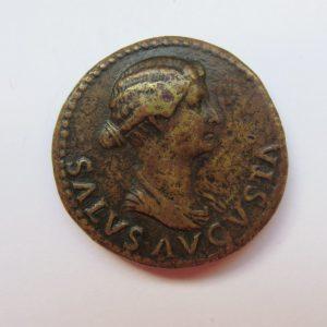 Tiberius Bronze Dupondius 14-37AD Showing bust r. of Livia 22-23AD-6254