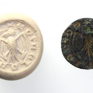 Medieval Bronze Seal Matrix, Eagle-15218