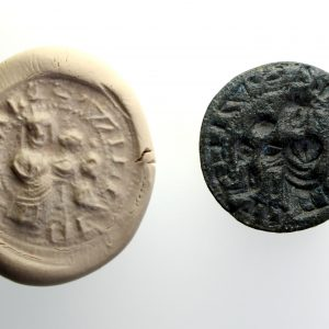 Medieval Seal Matrix 3 Figures (Mary and Child) 14th/15th Century AD-15220