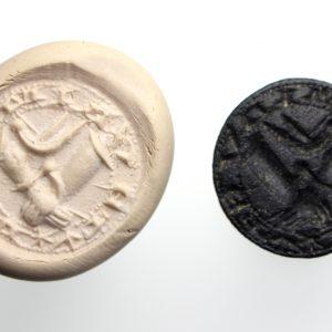Medieval Bronze Seal Matrix Clasped Hands, Dove-15221