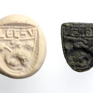 Bronze Shield Seal Matrix, Hare and Lion-15224