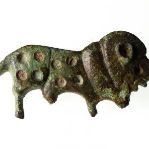 Roman Lion Brooch with enamelled spots-12516