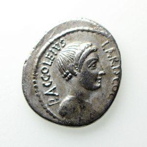 P. Accoleius Lariscolus Silver Denarius 43BC -12924