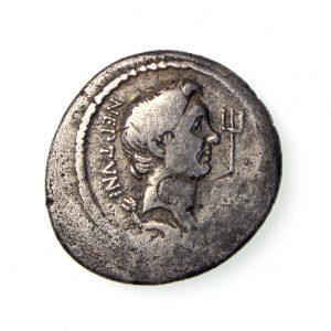 Sextus Pompey Silver Denarius 67-35BC Galley-18087