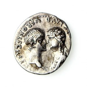 Nero & Agrippina Silver Fouree Denarius 54-68AD-18769