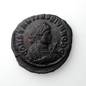 Constantine II Bronze Follis 316-337AD Consular Bust Trier mint-20027